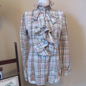 Lauren Ralph Lauren Brown Plaid Ruffle Shirt M